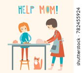 mom and dauhter cooking... | Shutterstock . vector #782455924