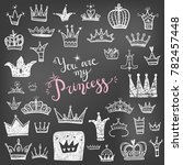 hand drawn various crowns set   ... | Shutterstock . vector #782457448