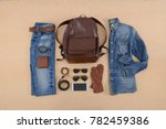 men's casual outfits with... | Shutterstock . vector #782459386