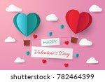 paper cut valentine background... | Shutterstock .eps vector #782464399