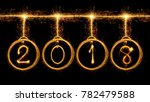 happy new year 2018 text and... | Shutterstock . vector #782479588