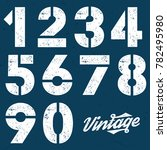 vintage stencil plate numbers   ... | Shutterstock .eps vector #782495980