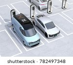 electric delivery minivan and...   Shutterstock . vector #782497348