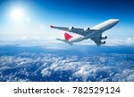 airplane flying above clouds  ... | Shutterstock . vector #782529124