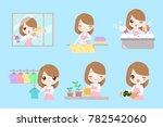 cute cartoon housewife do work... | Shutterstock . vector #782542060