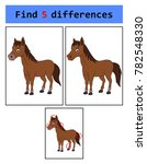 find 5 differences  horse  | Shutterstock .eps vector #782548330