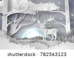 paper art of deer in the forest ... | Shutterstock .eps vector #782563123