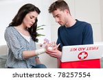 young man bandage his... | Shutterstock . vector #78257554