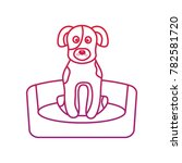 Stock vector dog or puppy on bed pet icon image bird tropical icon image 782581720