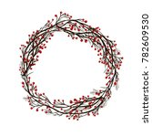 Wreath With Red Berries And Snow