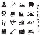mining icons. black flat design.... | Shutterstock .eps vector #782613346