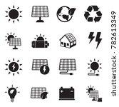 solar energy icons. black flat... | Shutterstock .eps vector #782613349