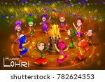 punjabi people celebrating... | Shutterstock .eps vector #782624353