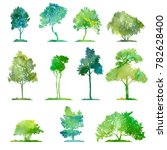 watercolor set of deciduous... | Shutterstock . vector #782628400