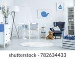 round rug in white interior of... | Shutterstock . vector #782634433