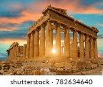 Parthenon Athens Greece Sunset...