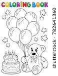 coloring book teddy bear theme... | Shutterstock .eps vector #782641360
