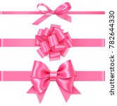 set of decorative pink bow with ... | Shutterstock .eps vector #782644330