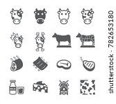 cow icon set | Shutterstock .eps vector #782653180