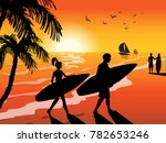 surfers with surfboards  on... | Shutterstock .eps vector #782653246