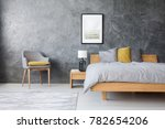 grey and yellow room with king... | Shutterstock . vector #782654206
