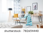 blue blanket and patterned... | Shutterstock . vector #782654440