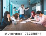 conflict in the office.... | Shutterstock . vector #782658544