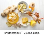 composition with honey and... | Shutterstock . vector #782661856