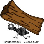 ant carrying a tree trunk | Shutterstock .eps vector #782665684