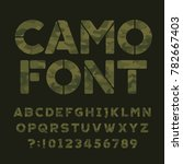 camo alphabet font. type... | Shutterstock .eps vector #782667403