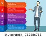 busness man explains with list... | Shutterstock .eps vector #782686753