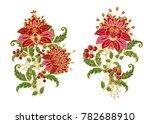 stylized golden shiny flowers... | Shutterstock . vector #782688910