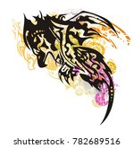 grunge mystic tribal phoenix... | Shutterstock .eps vector #782689516