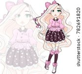 Cute Fashion Girl Cartoon...