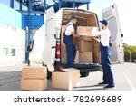 delivery men unloading moving... | Shutterstock . vector #782696689