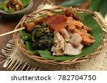 nasi campur babi guling....   Shutterstock . vector #782704750