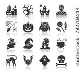 halloween black silhouette with ... | Shutterstock . vector #782706214