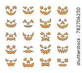 halloween face set. flat design ... | Shutterstock . vector #782706250