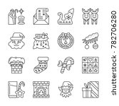 christmas thin line icon set.... | Shutterstock . vector #782706280
