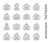 halloween pumpkin with carving... | Shutterstock . vector #782706304
