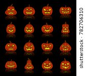 carving face halloween pumpkin... | Shutterstock . vector #782706310