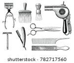 vintage barbershop tools hand... | Shutterstock .eps vector #782717560