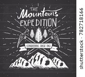mountain expedition vintage... | Shutterstock . vector #782718166