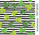 clover leaf hand drawn doodle... | Shutterstock . vector #782718250