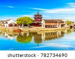 suzhou tang town river side of... | Shutterstock . vector #782734690