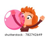 the woman blows pink bubble... | Shutterstock .eps vector #782742649