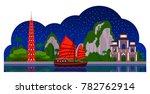 vietnam. night panoramic view.... | Shutterstock .eps vector #782762914
