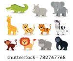 wild animals set in flat style... | Shutterstock .eps vector #782767768