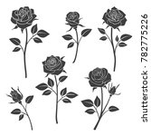 rose buds silhouettes. flowers... | Shutterstock . vector #782775226