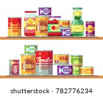 red tomato soup and canned food ... | Shutterstock . vector #782776234